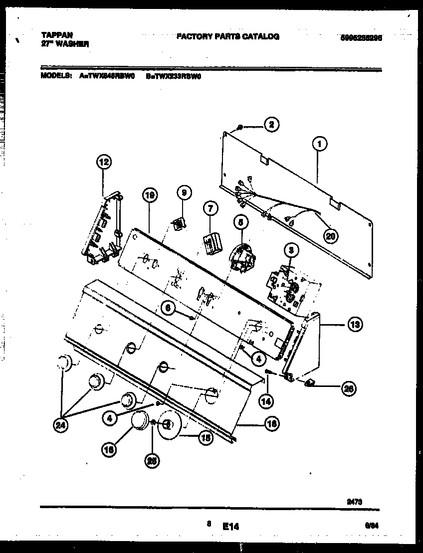 Tappan TWX233RBD0 console and control parts diagram