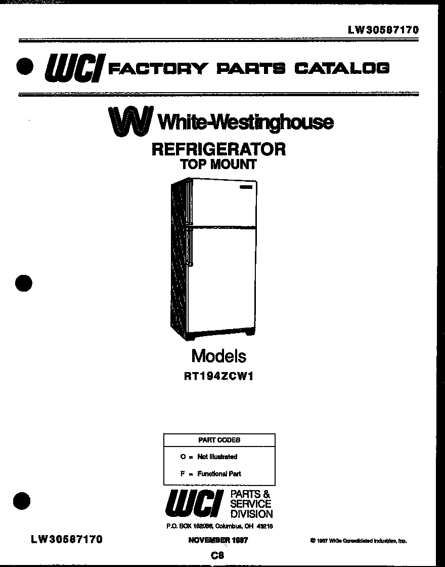 White-Westinghouse RT194ZCD1 cover diagram