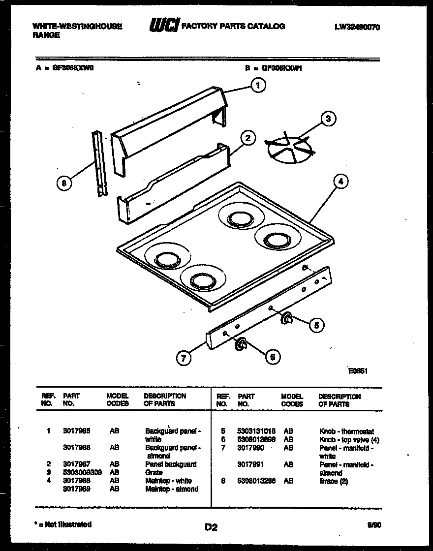 White-Westinghouse GF306KXW0 backguard and cooktop parts diagram
