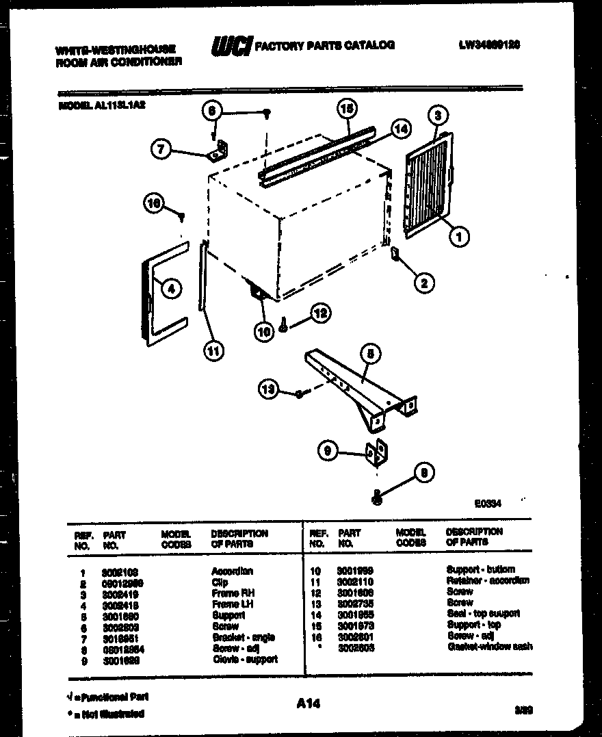 White-Westinghouse AL113L1A2 cabinet and installation parts diagram