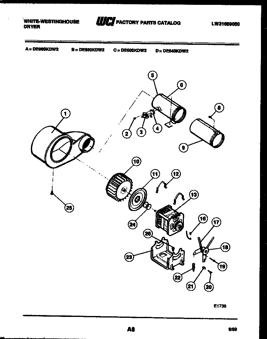 White-Westinghouse DE800KDH2 motor and blower parts diagram