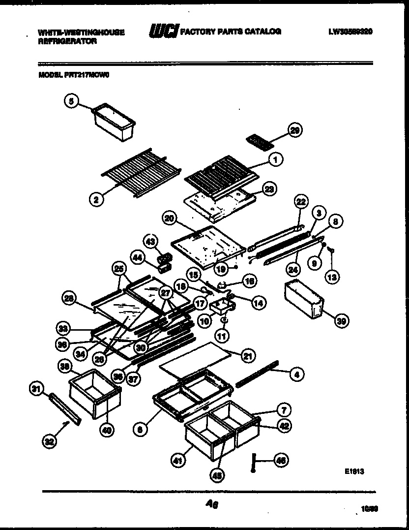 White-Westinghouse PRT217MCH0 shelves and supports diagram