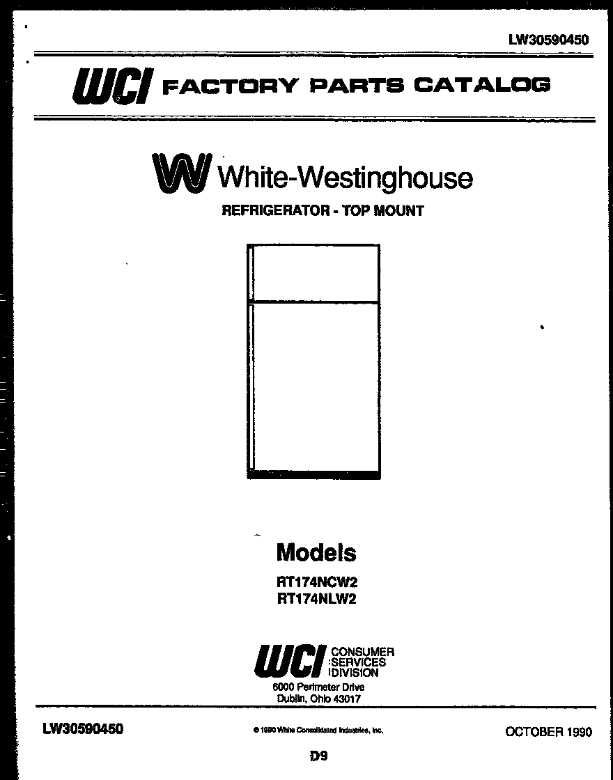 White-Westinghouse RT174NLW2 cover page diagram