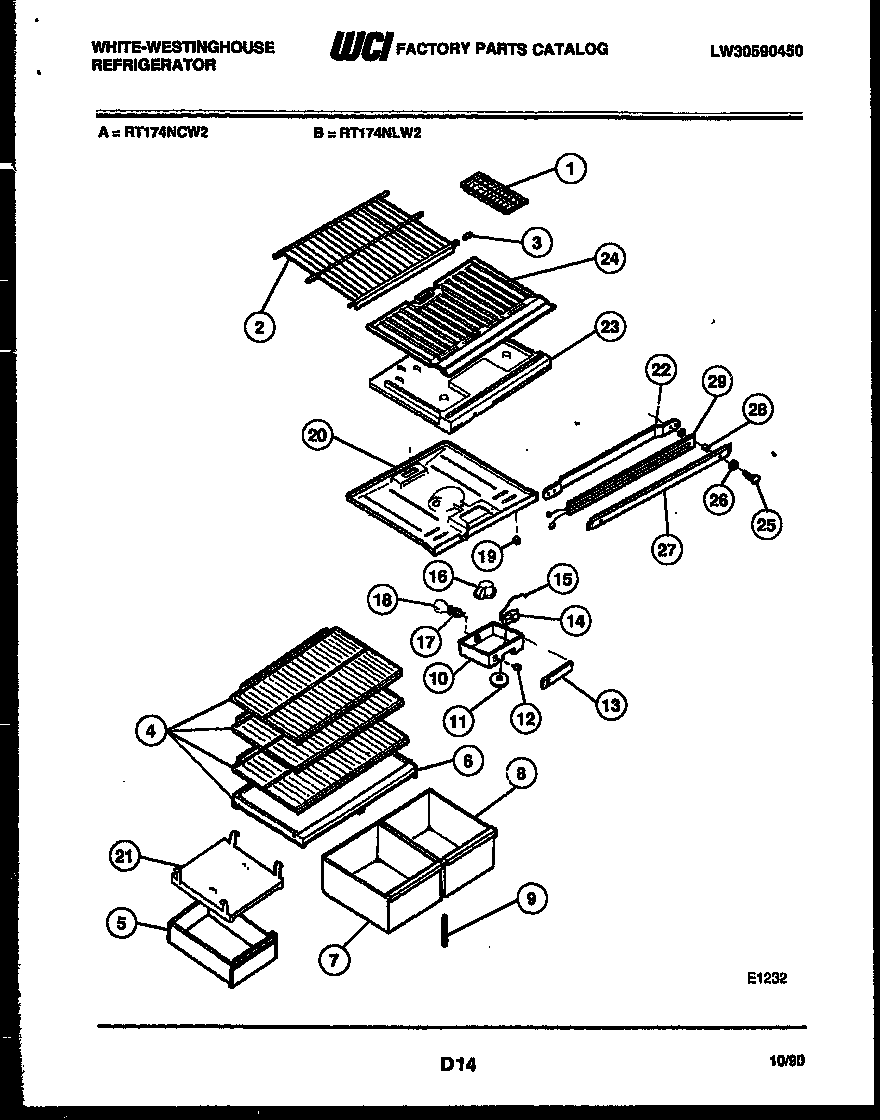 White-Westinghouse RT174NLW2 shelves and supports diagram