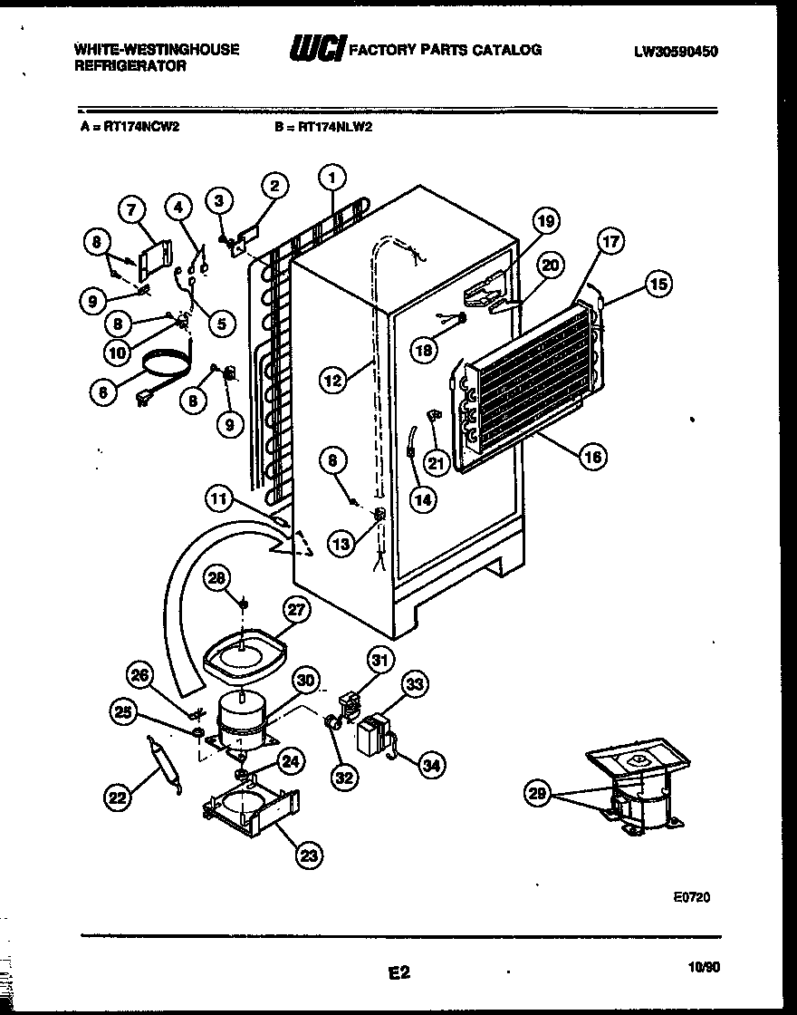 White-Westinghouse RT174NLW2 system and automatic defrost parts diagram