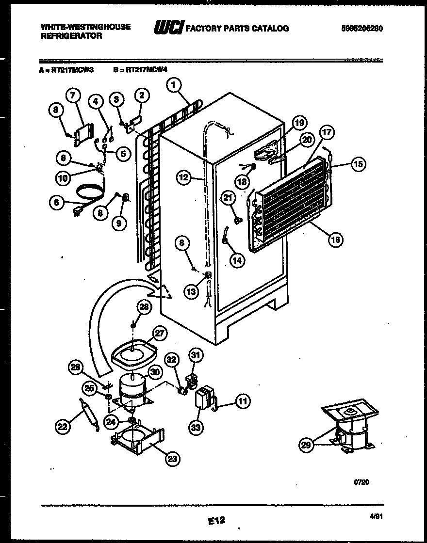 White-Westinghouse RT217MCF3 system and automatic defrost parts diagram