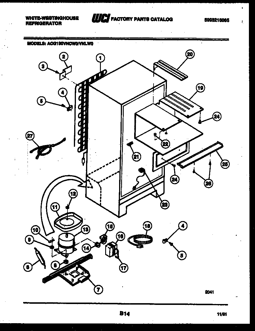 White-Westinghouse ACG130VNCD0 system and automatic defrost parts diagram