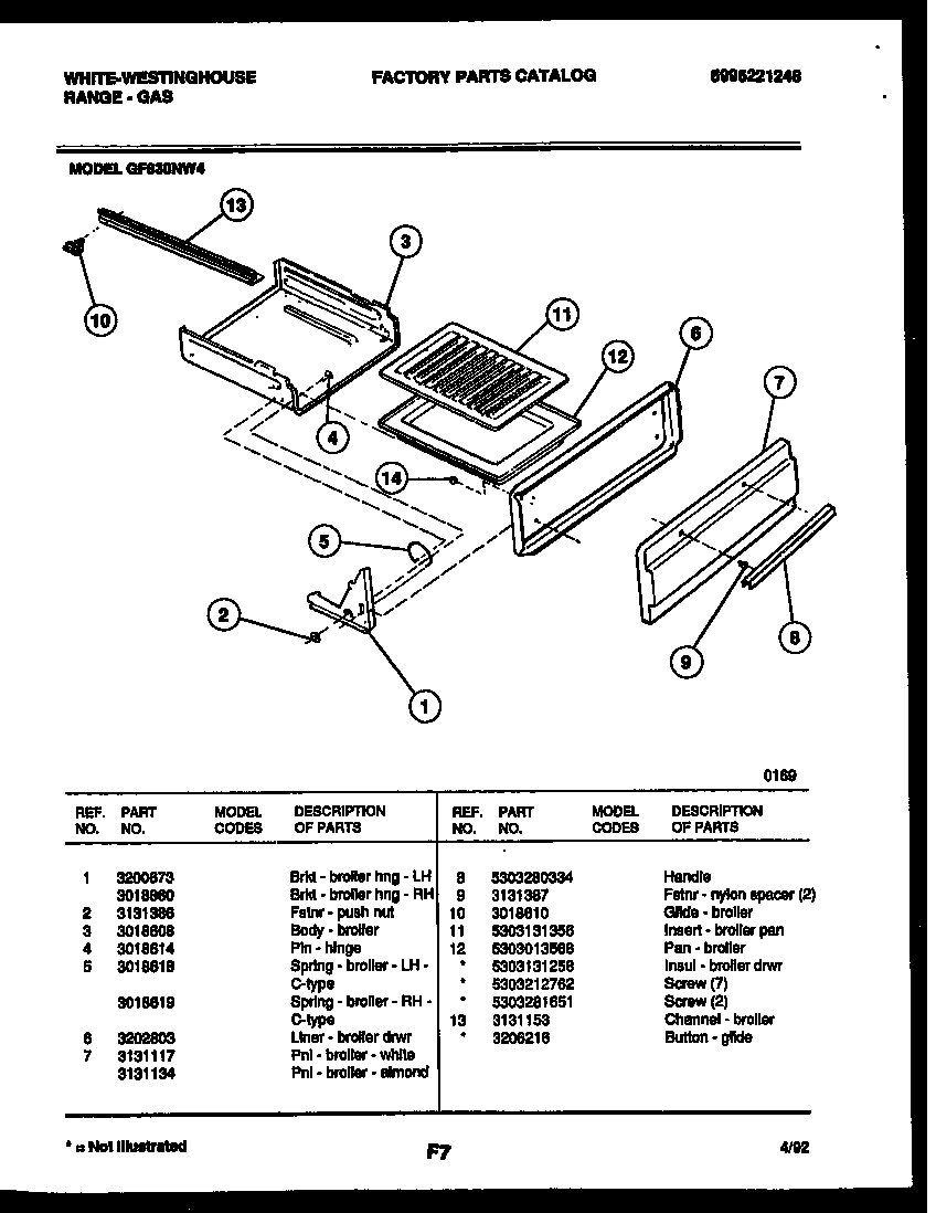 White-Westinghouse GF830ND4 broiler drawer parts diagram