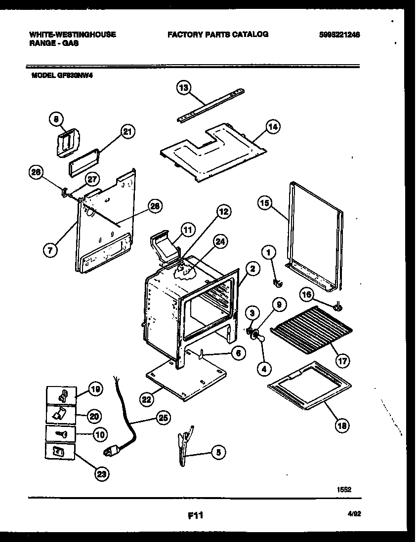 White-Westinghouse GF830ND4 body parts diagram