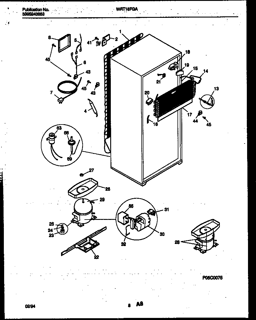 White-Westinghouse WRT18FGAD1 system and automatic defrost parts diagram