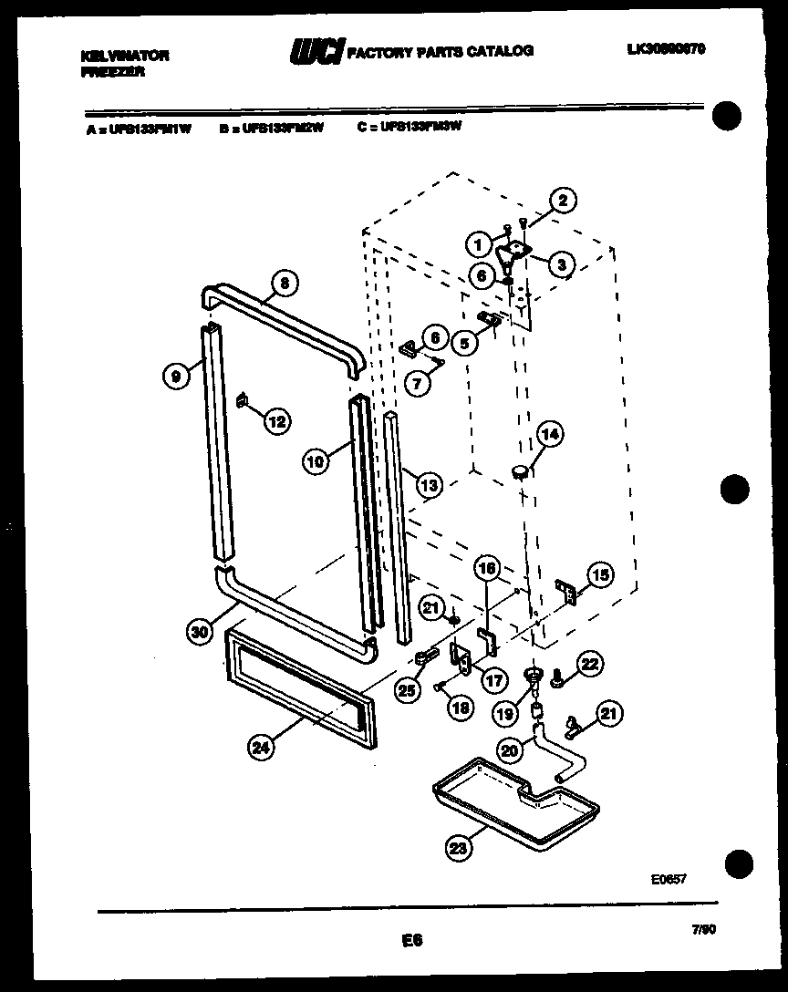 Kelvinator  Upright Freezer - Lk30890070   Parts
