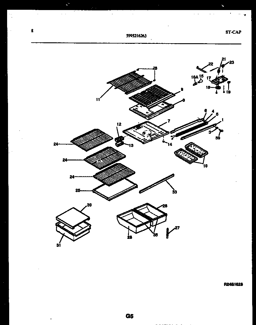 Gibson RT19F5DX3B shelves and supports diagram