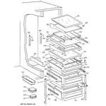 GE MSK28PFBEAA fresh food shelves diagram