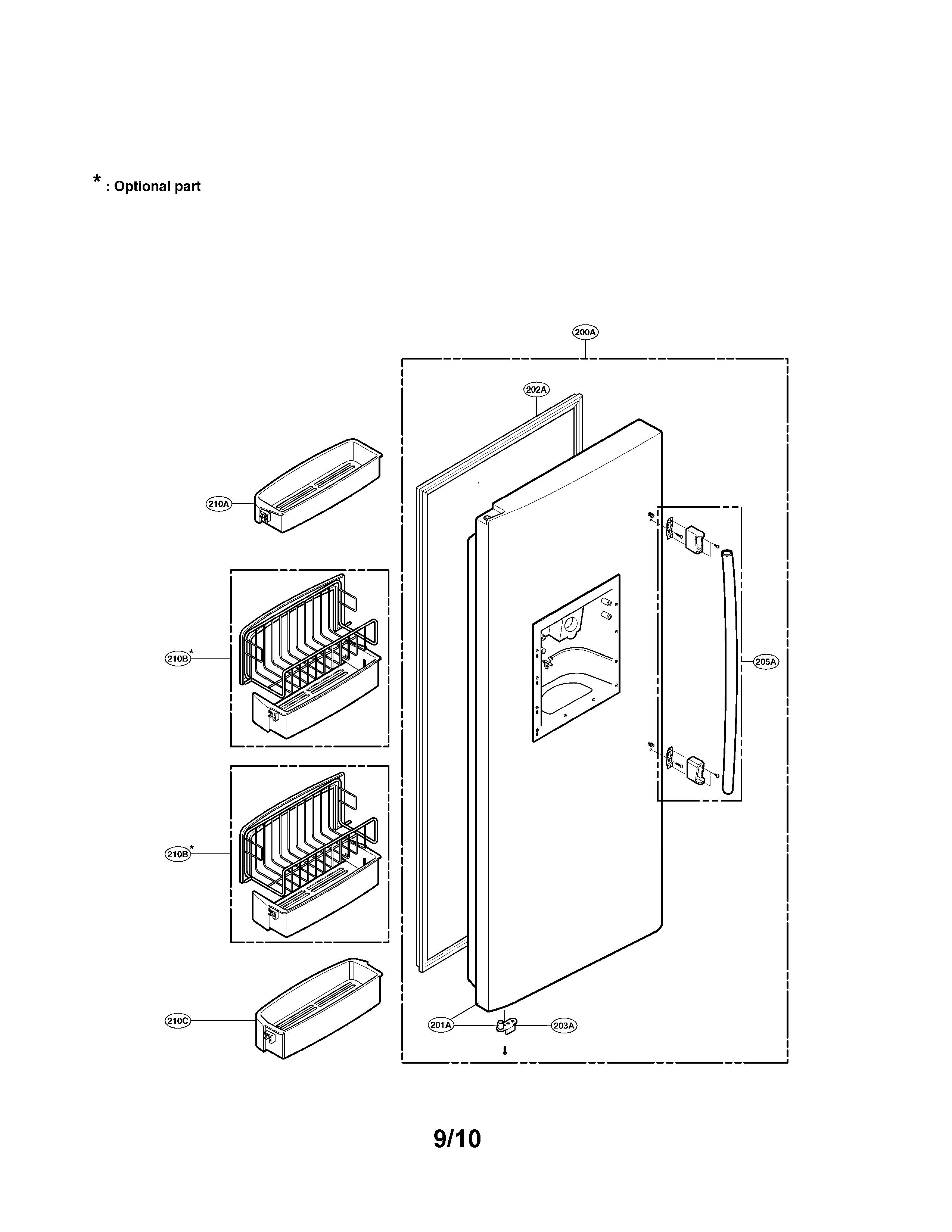 Lg  Refrigerator  Freezer door part