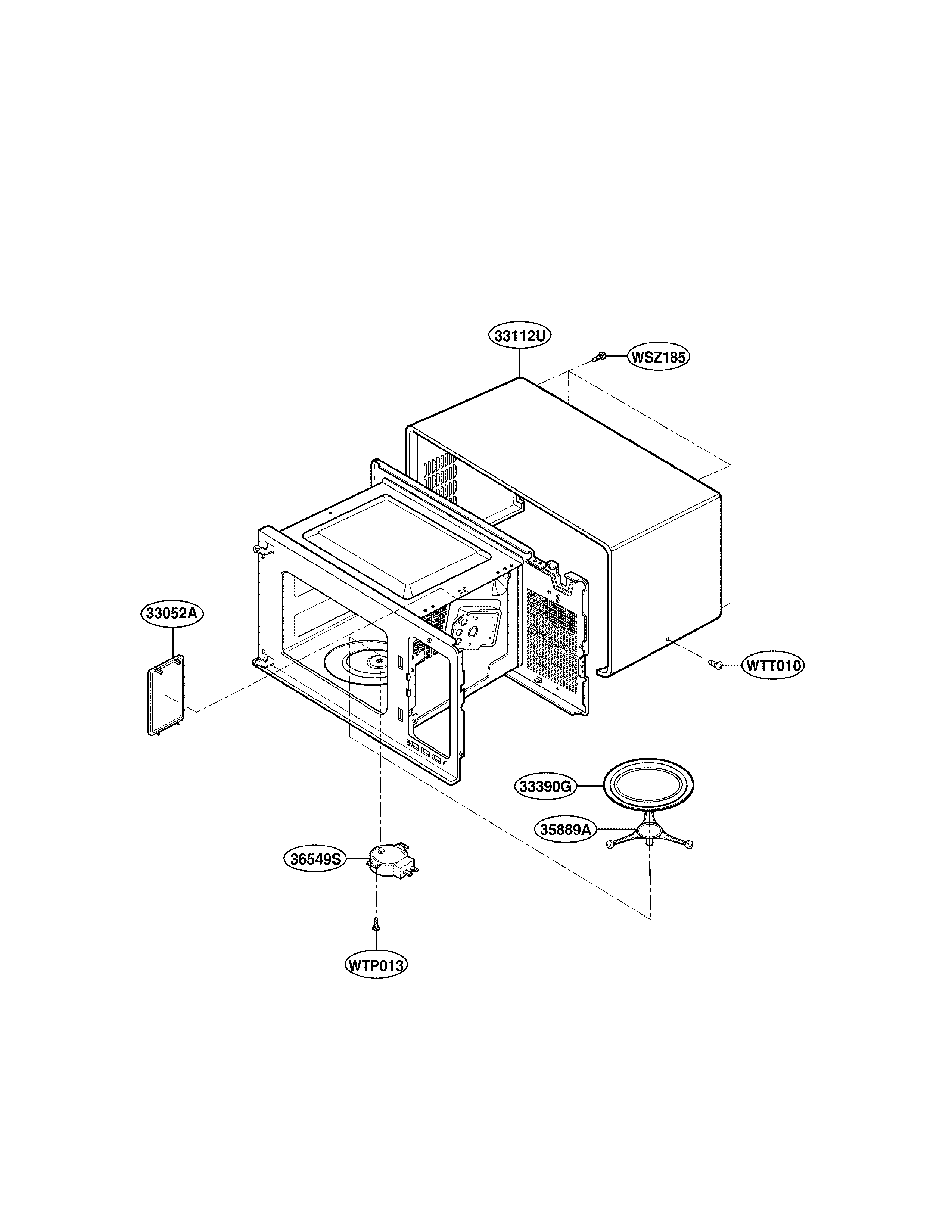 LG LMAB1240ST01 oven cavity parts diagram