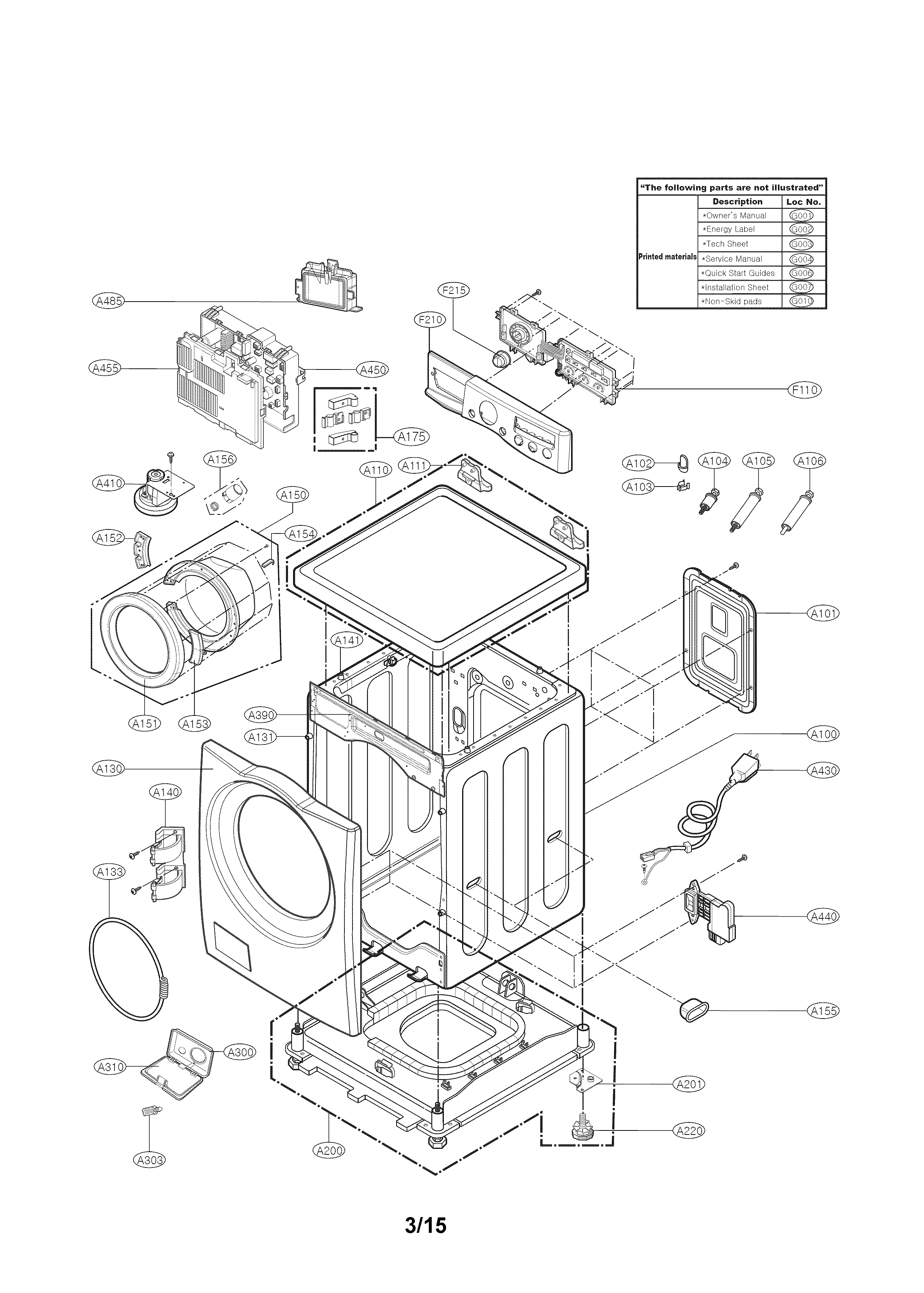 Kenmore 79641182311 cabinet and control parts diagram