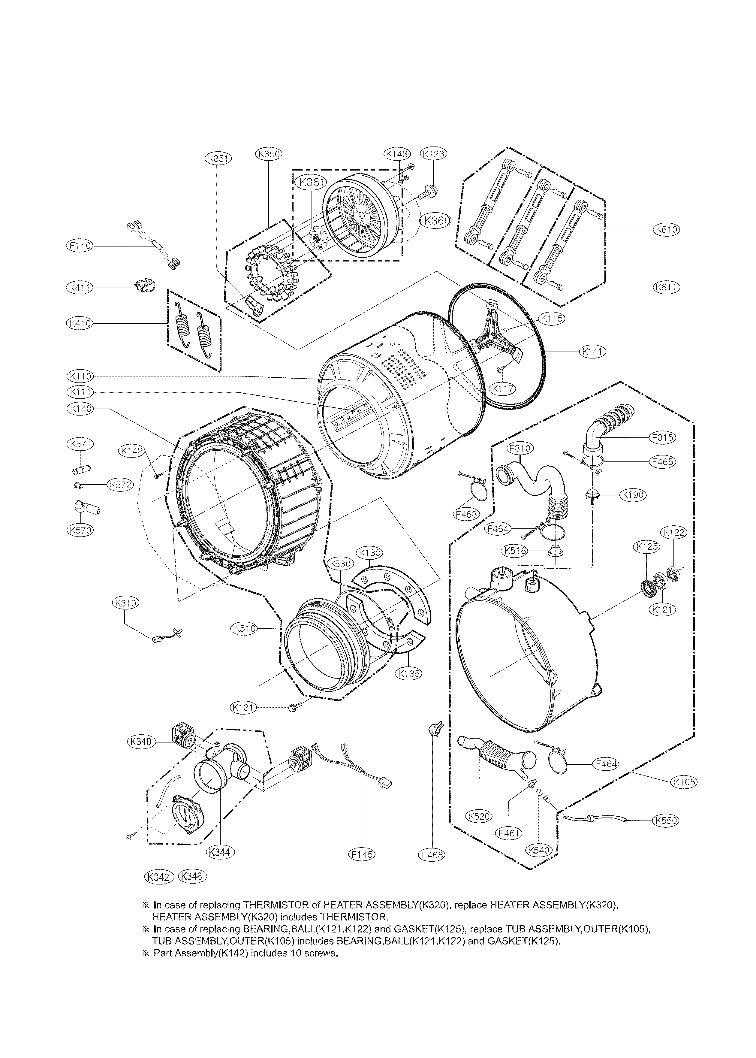 Kenmore 79641182311 drum and tub parts diagram