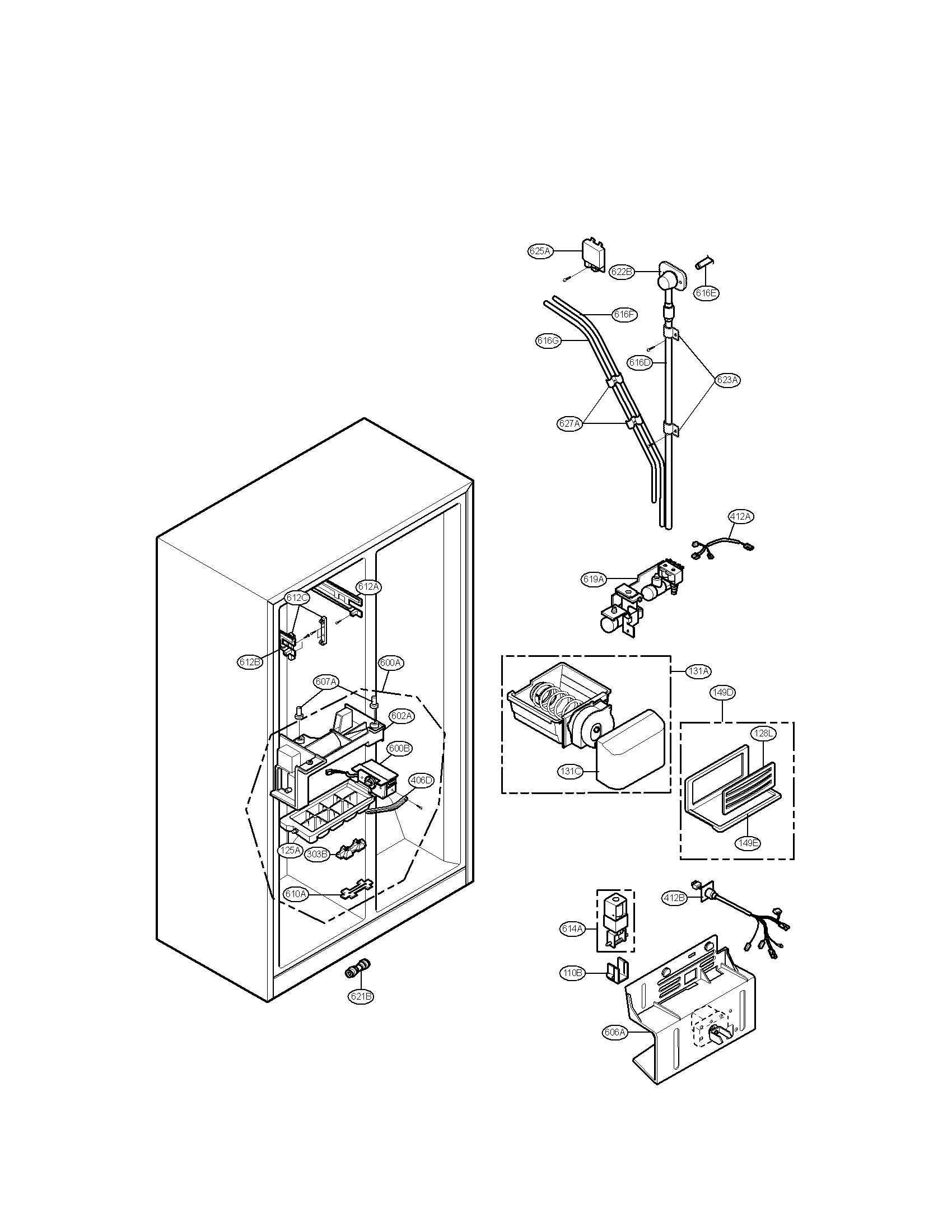 LG Side-by-Side Refrigerator Ice And Water Parts