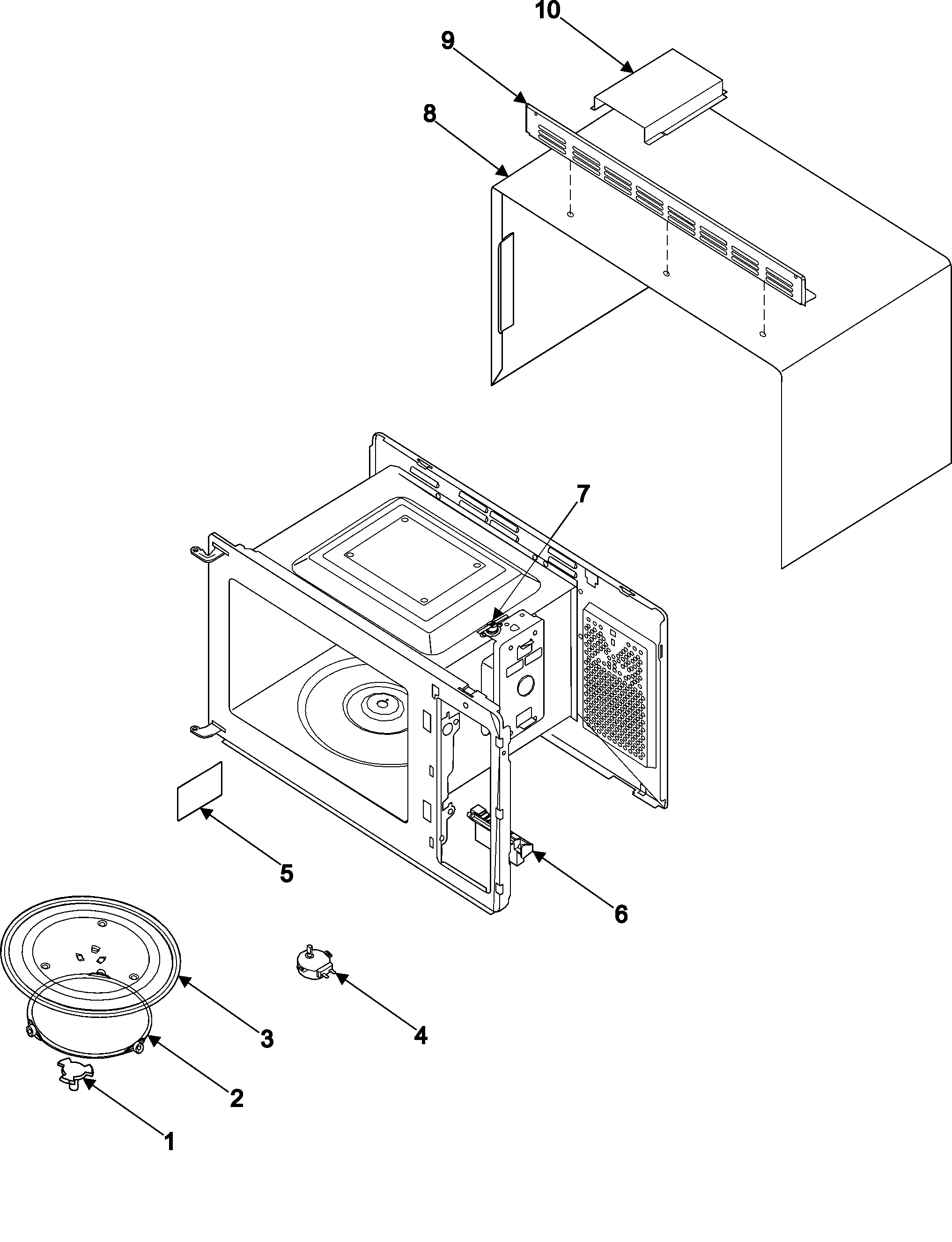 SAMSUNG Countertop Microwave Body/cavity/elements parts