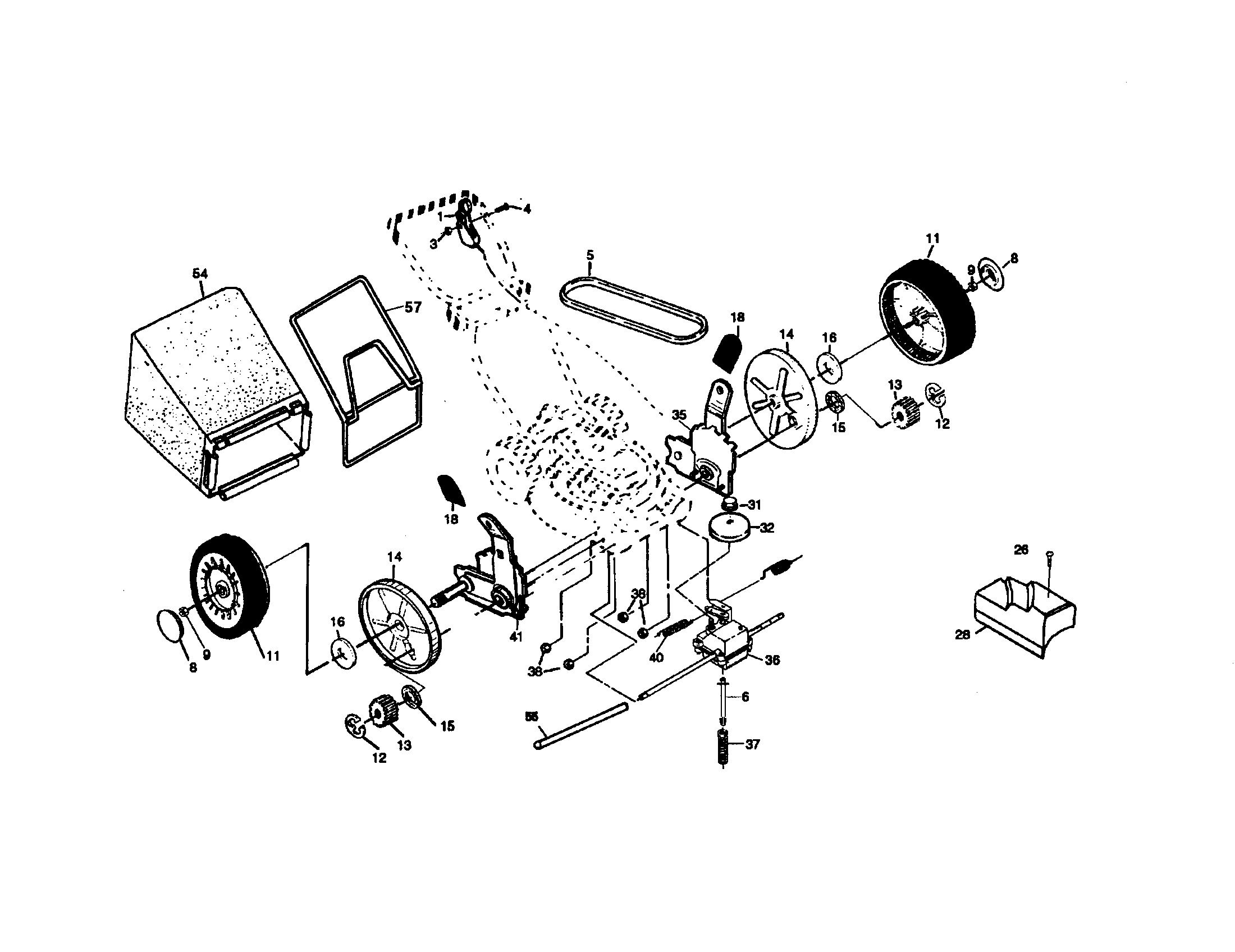 CRAFTSMAN Walk Behind Lawnmower, Gas Wheel And Tire Assembly parts