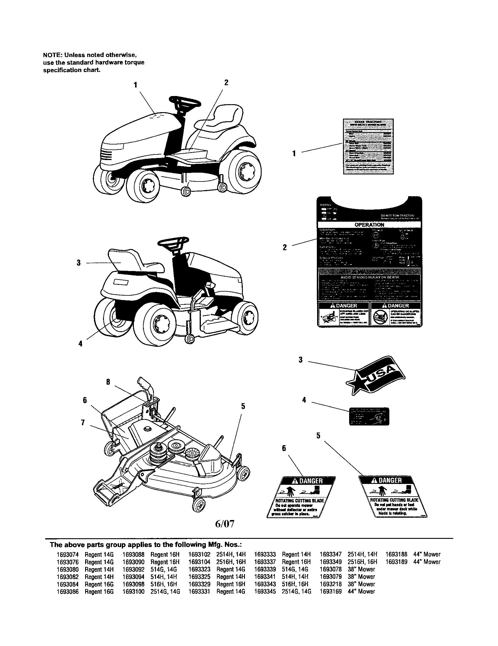SIMPLICITY Mower Deck Decals-safety & Common parts