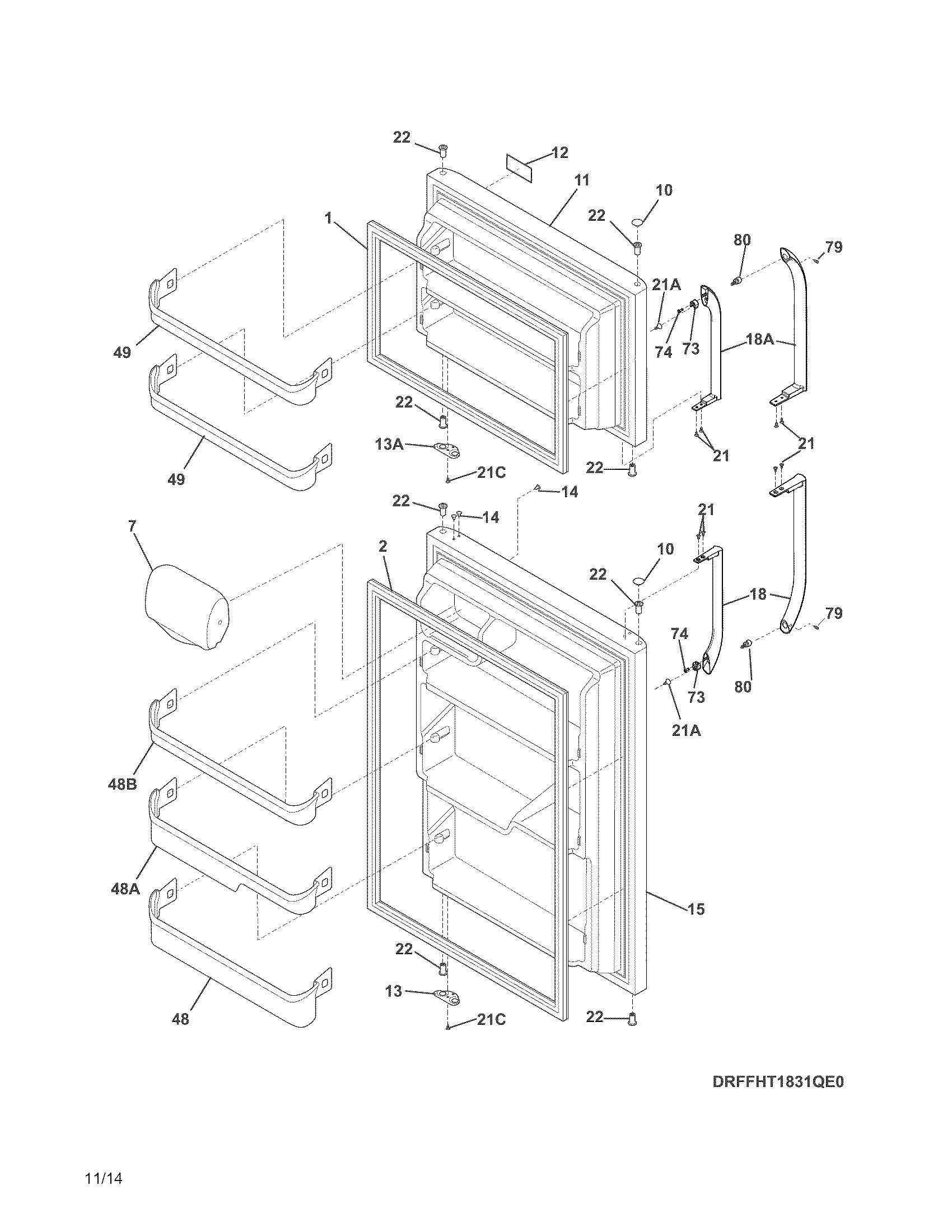 frigidaire model lfht1831qf0 top