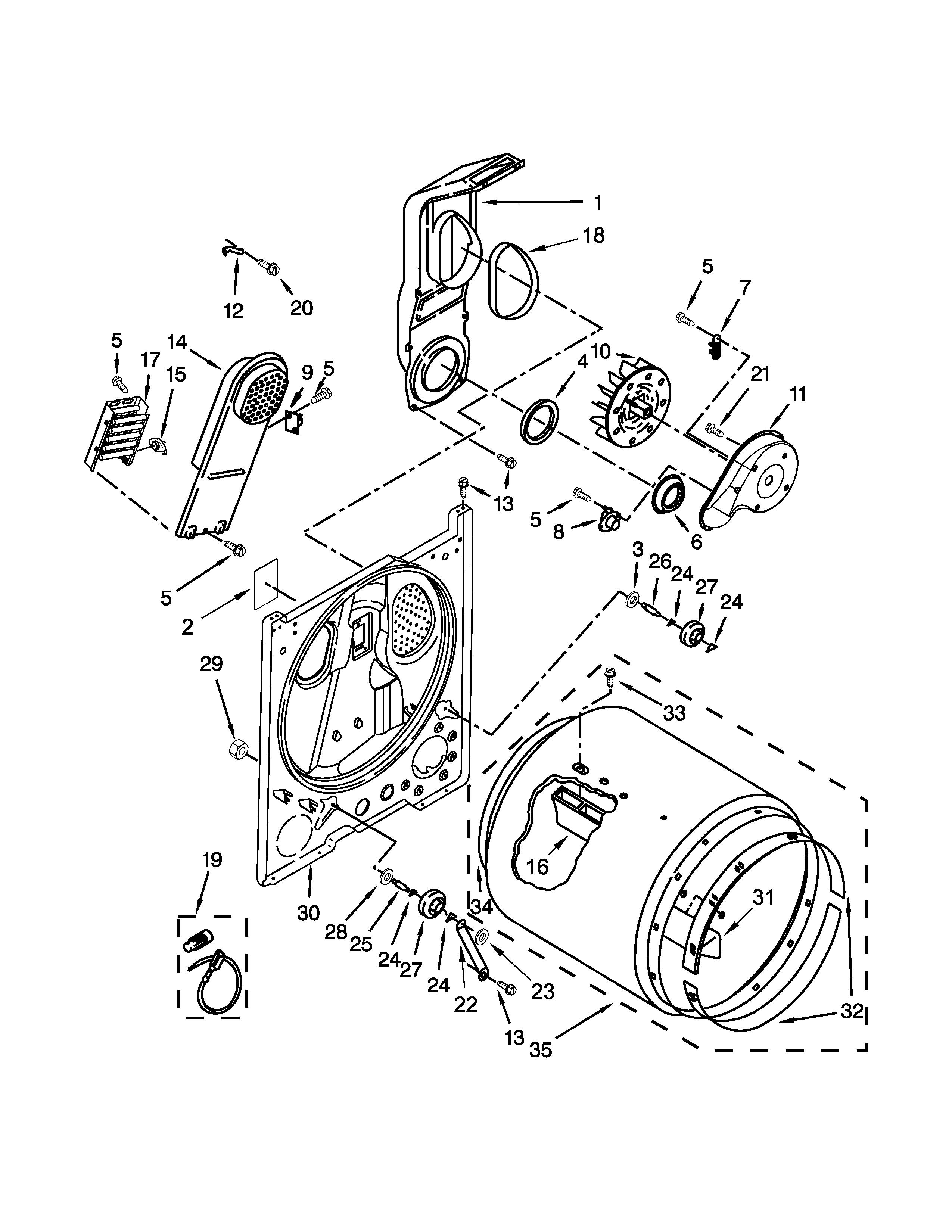 whirlpool model wed4800bq1 residential dryer genuine parts