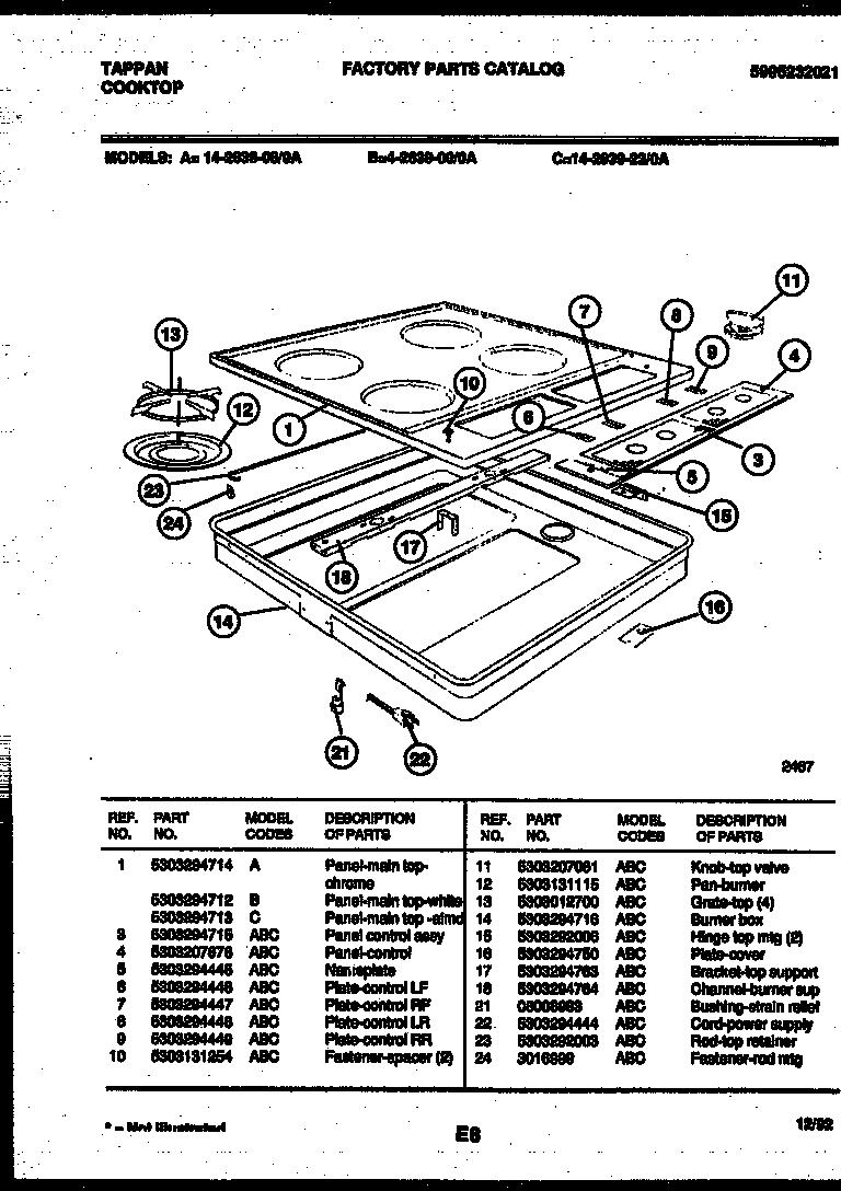 tappan model 14 2639 08 0a counter unit gas genuine parts rh searspartsdirect com