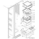 GE GSC21KGRAWW fresh food shelves diagram
